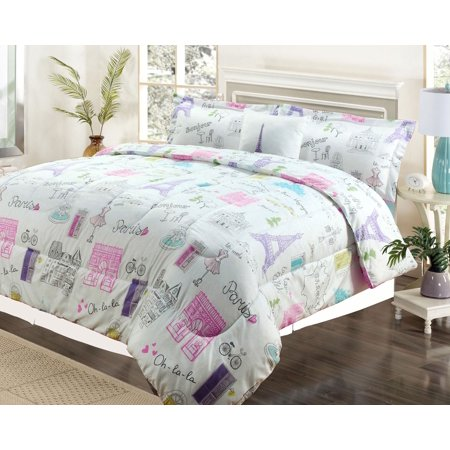 Twin 3 Piece Bedding Girls Comforter Bed Set, Paris Eiffel Tower Bonjour Pink Purple