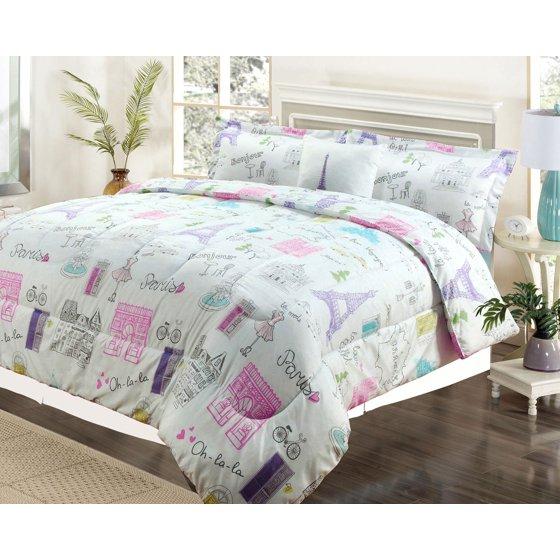 Twin 3 Piece Bedding Girls Comforter Bed Set, Paris Eiffel