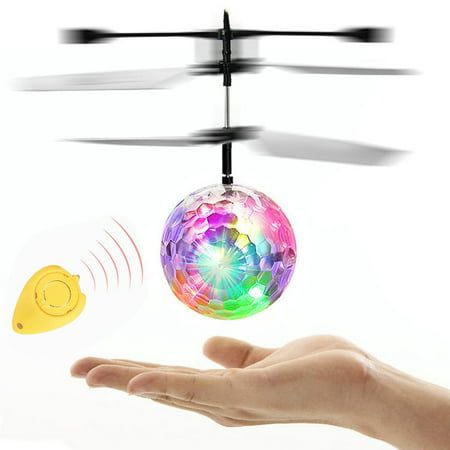 Mallroom Flying RC Electric Ball LED Flashing Light Aircraft Helicopter Induction - Led Helicopter Toy