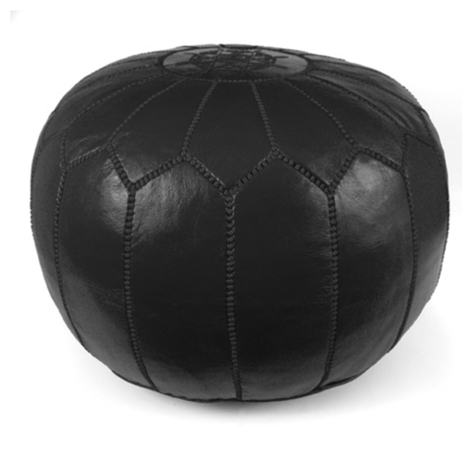 Ikram Design Round Moroccan Leather Pouf