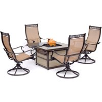 Hanover Monaco 5-Piece Fire Pit Chat Set with 4 Sling Swivel Rockers and a 40,000 BTU Gas Fire Pit Coffee Table