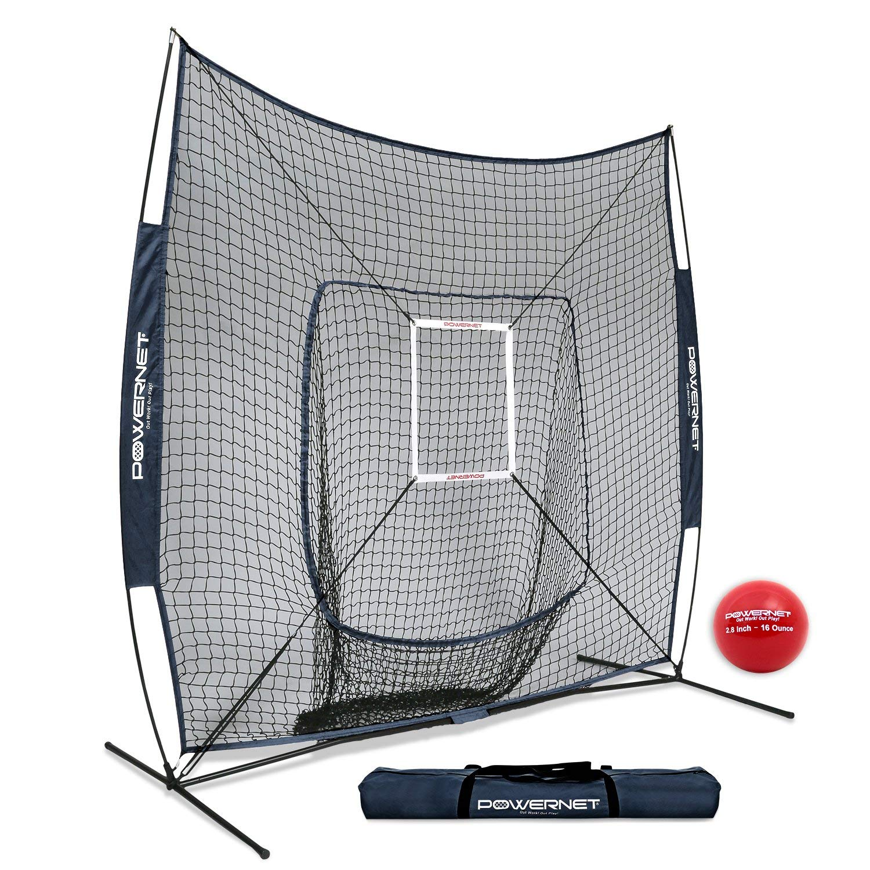 PowerNet DLX 7x7 Baseball Softball Practice Net (Bundle with Strike Zone  and Training Ball)