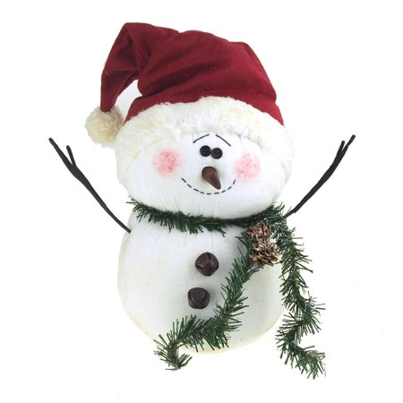 Blushing Plush Snowman with Santa Hat Holiday Winter Decor, White, 13-Inch (Firefly Winter)