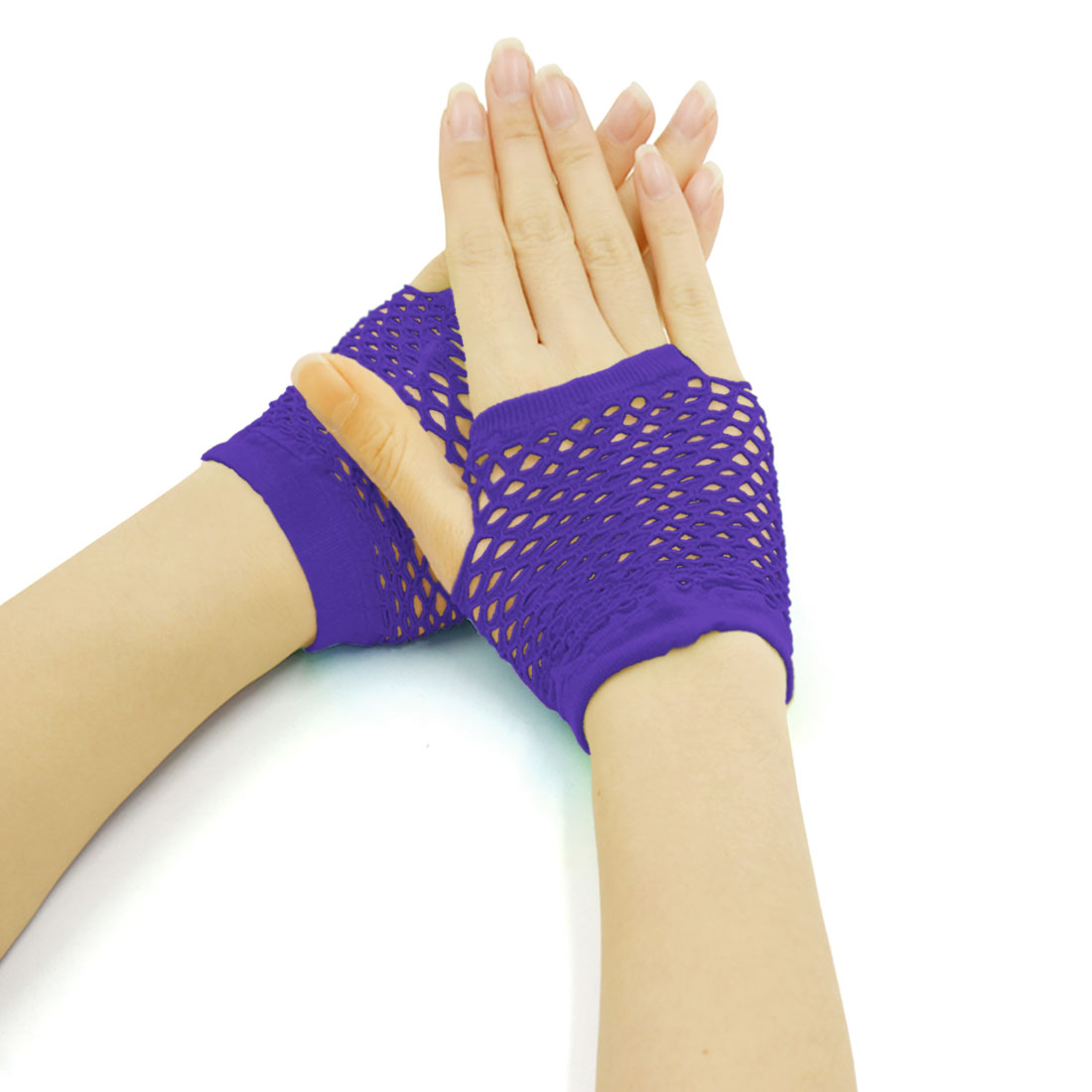Women's Wrist Length Stretchy Fingerless Fishnet Gloves 2 Pairs Purple