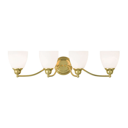 Bathroom Vanity 4 Light With Hand Blown Satin Opal White Glass Polished Brass size 30 in 400 Watts - World of Crystal