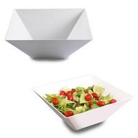 White Plastic Square Serving Bowls 128oz - Disposable or Reusable (3 Bowls)