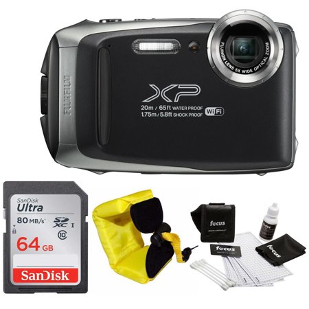 Fujifilm FinePix XP130 Wi-Fi Camera (Dark Silver & Black) + 64GB SD Card + Floating Strap + Cleaning Kit