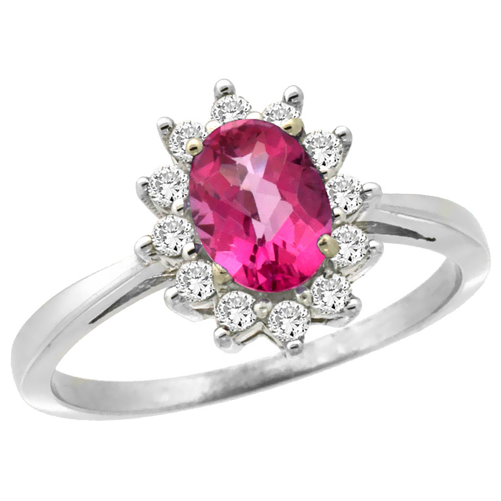 14K White Gold Natural Pink Sapphire Engagement Ring Oval 7x5mm Diamond Halo, size 6 by Gabriella Gold