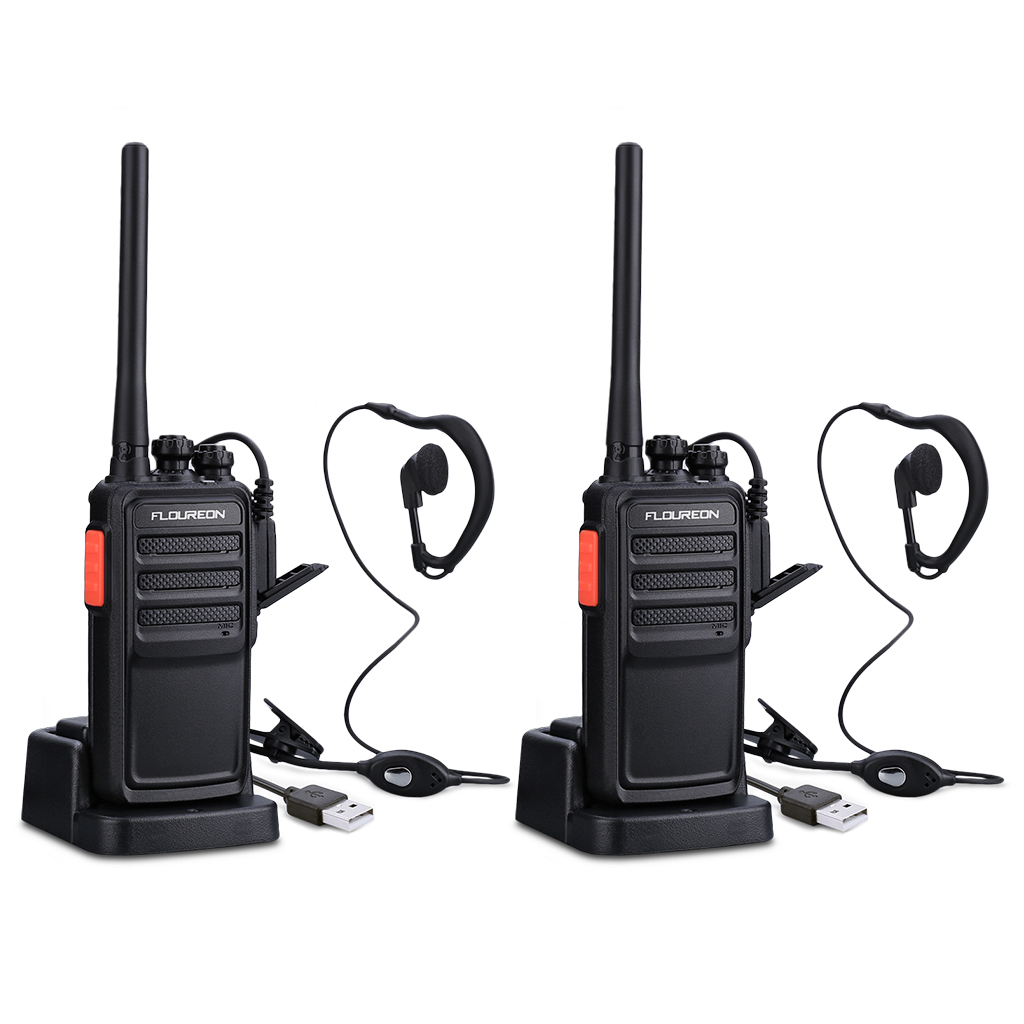 FLOUREON 2 Way Radio Long Range Walkie Talkie with Earpiece 16-Channel UHF 400-470MHz (Pack of 2)