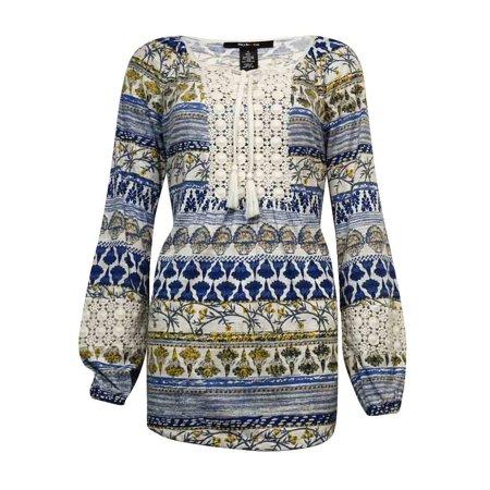 style & co women's keyhole crochet pleated blouse