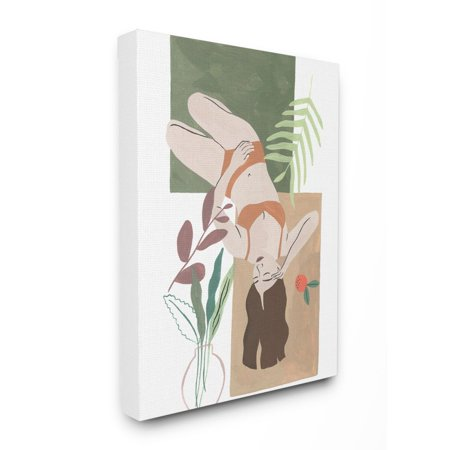 Stupell Industries Flower Plants Woman Figure Model Modern Painting Super Canvas Wall Art by Melissa