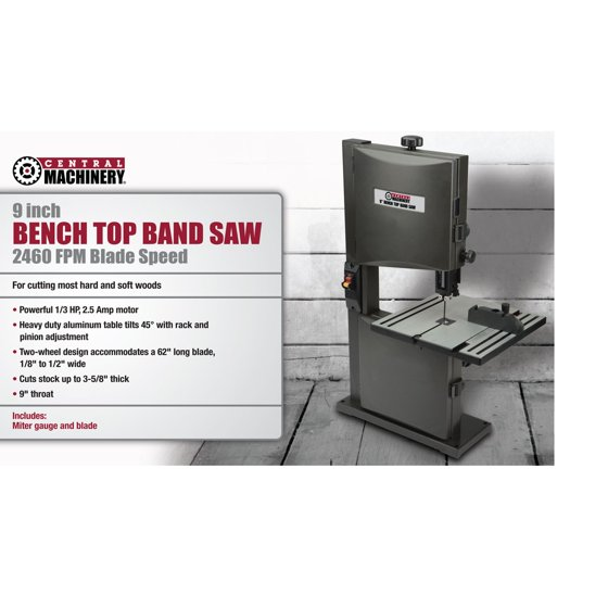 Central Machinery 1/3 HP 9 In  Benchtop Band Saw 60500