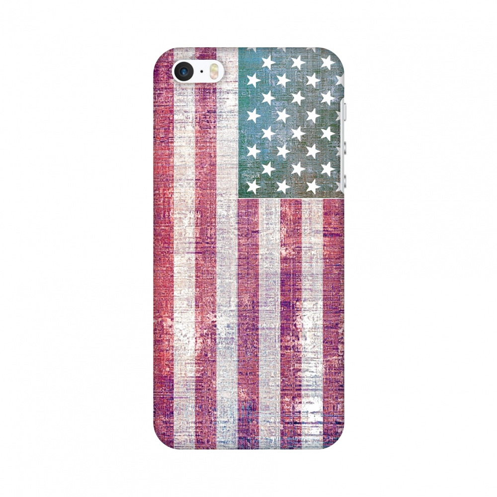 iPhone SE Case - USA flag- Wood texture, Hard Plastic Back Cover, Slim Profile Cute Printed Designer Snap on Case with Screen Cleaning Kit