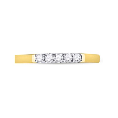 10kt Yellow Gold Womens Round Diamond Single Row 5-stone Band Ring 1/6 Cttw - image 3 of 4