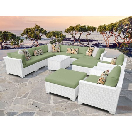 TK Classics Monaco 13-Piece Outdoor Wicker Patio Conversation Set