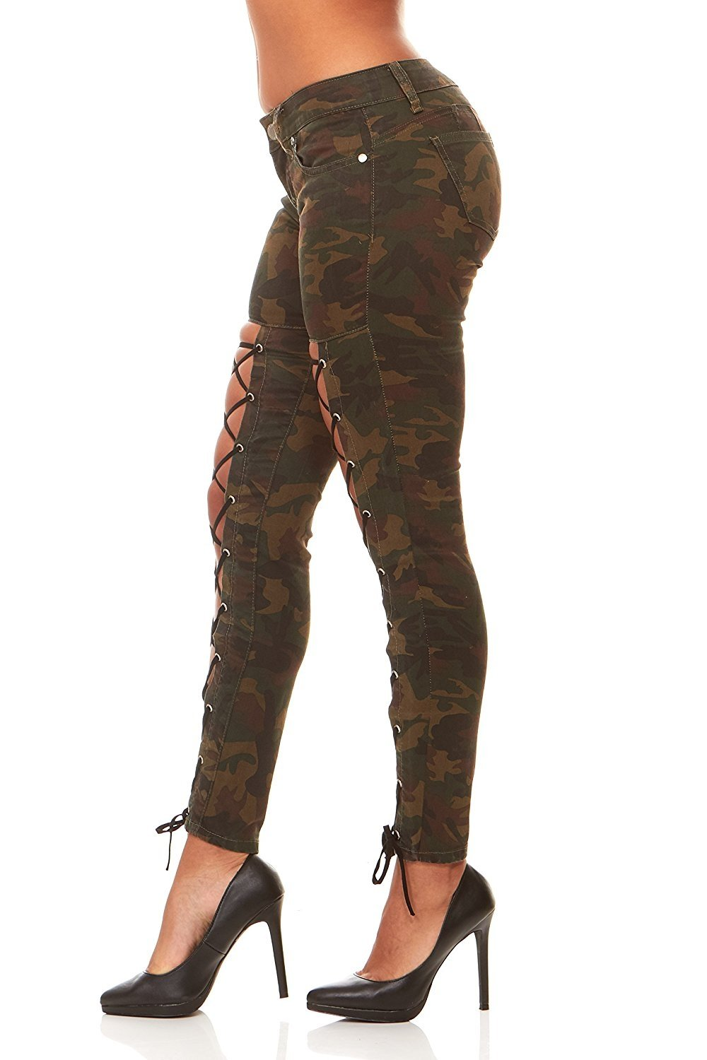VIP Jeans for women Skinny Jeans with Lace Up Legs  Butt Lift  Slim Fit Stretchy Jeans sexy comfort Camo or Black in Junior and Plus sizes