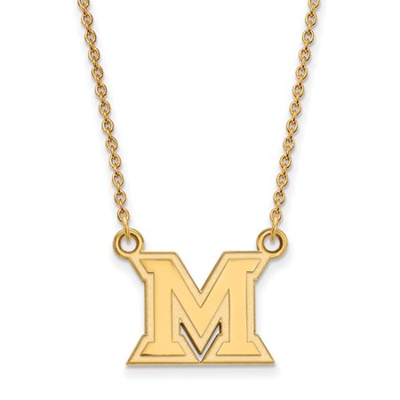 14K Yellow Gold Logoart Official Licensed Collegiate 18In Miami University  Mu  Small Pendant W Necklace
