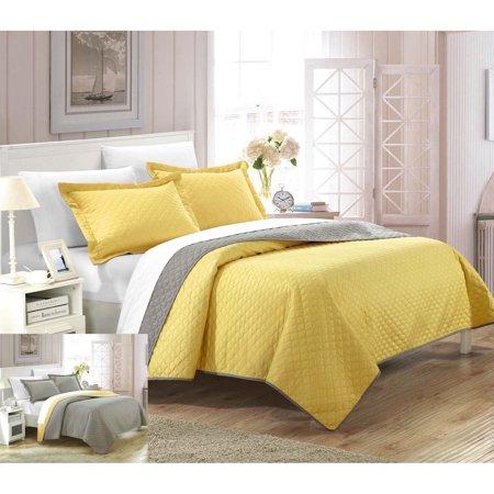 Cozy Modern Quilts (Lugano Teresa Reversible Modern Design Quilt Set Yellow)