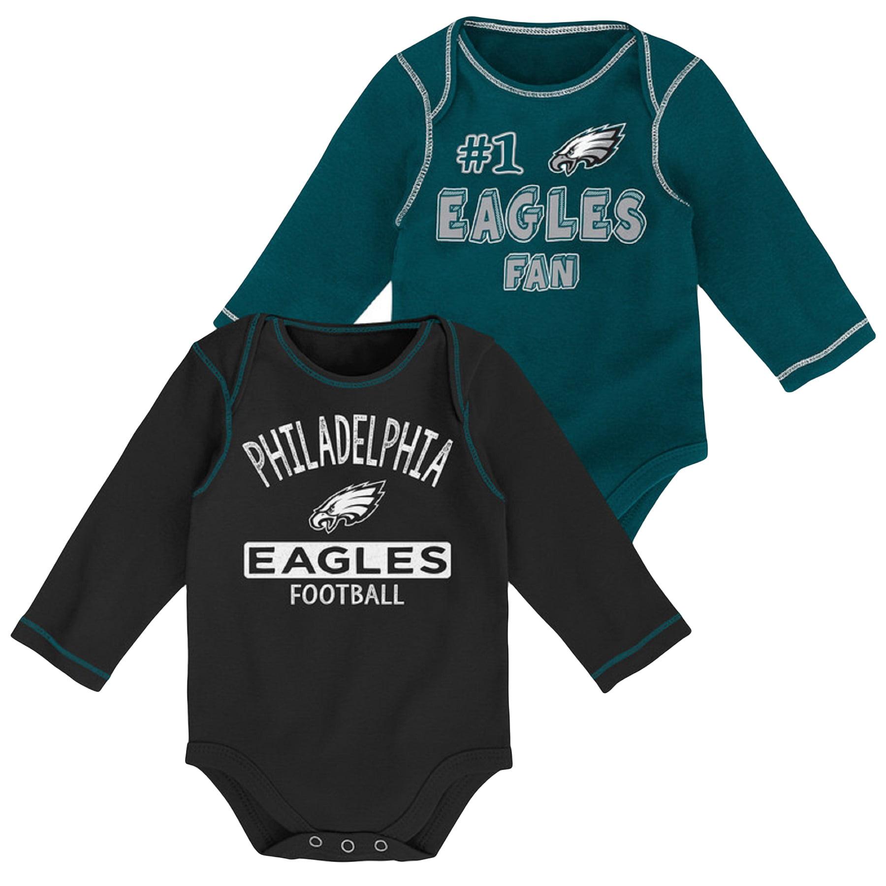 Newborn & Infant Midnight Green/Black Philadelphia Eagles 2-Pack Long Sleeve Bodysuits