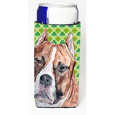 Staffordshire Bull Terrier Staffie Lucky Shamrock St. Patricks Day Michelob Ultra bottle sleeves Slim Cans  12 Oz.