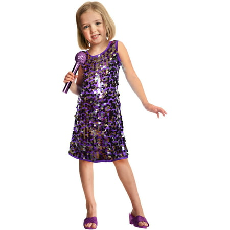 Sequins Pop Star Child Halloween Costume, Purple - Prince Purple Rain Halloween Costume