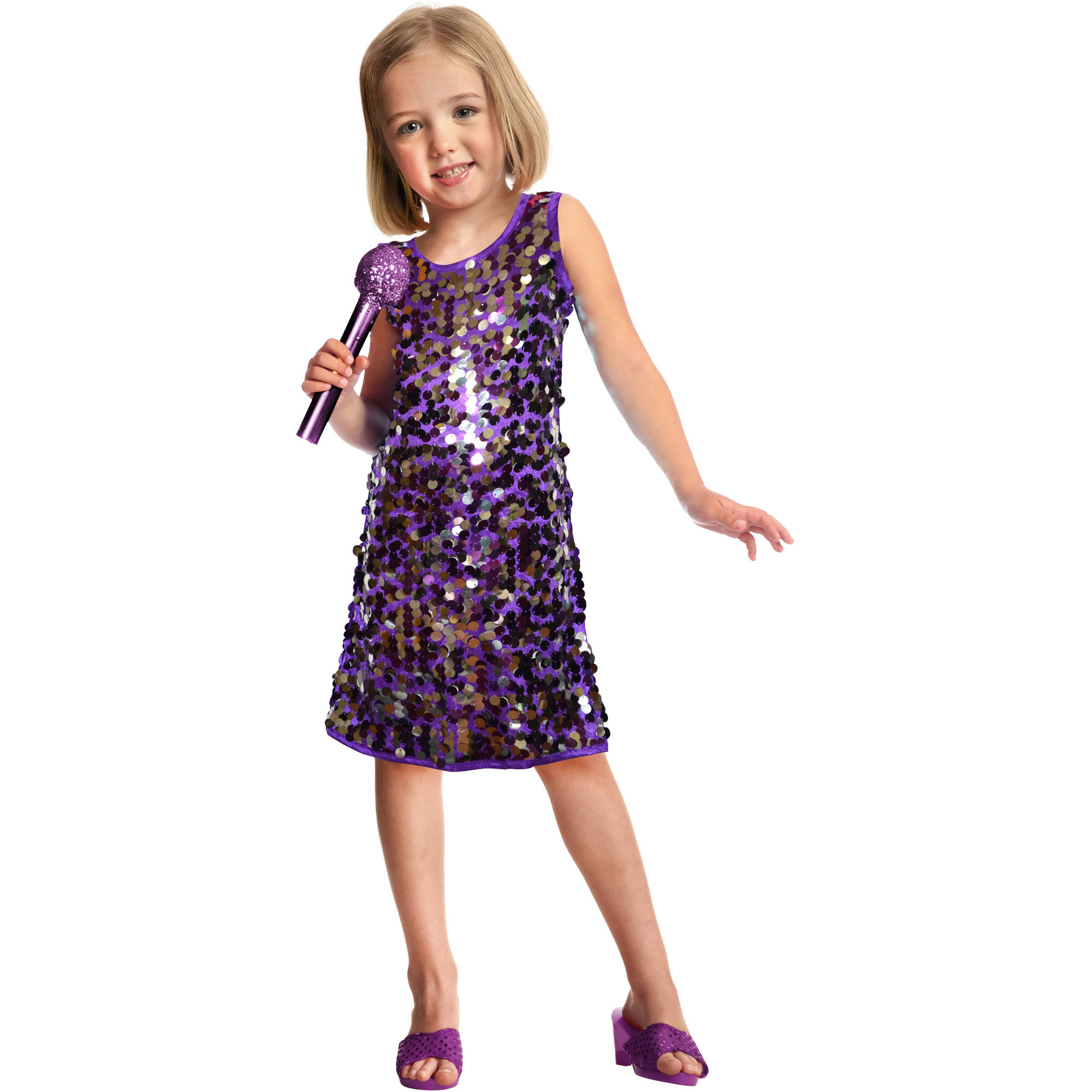 Sequins Pop Star Child Halloween Costume, Purple