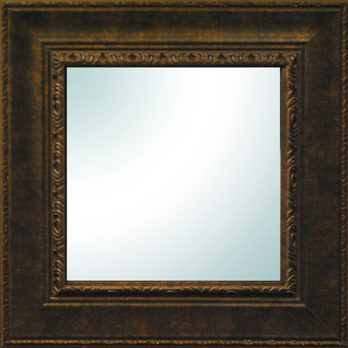 "19"" x 19"" Bronze Ornate Square Mirror"