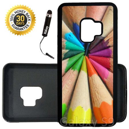 Custom Galaxy S9 Case (Colored Penciles) Edge-to-Edge Rubber Black Cover Ultra Slim | Lightweight | Includes Stylus Pen by Innosub