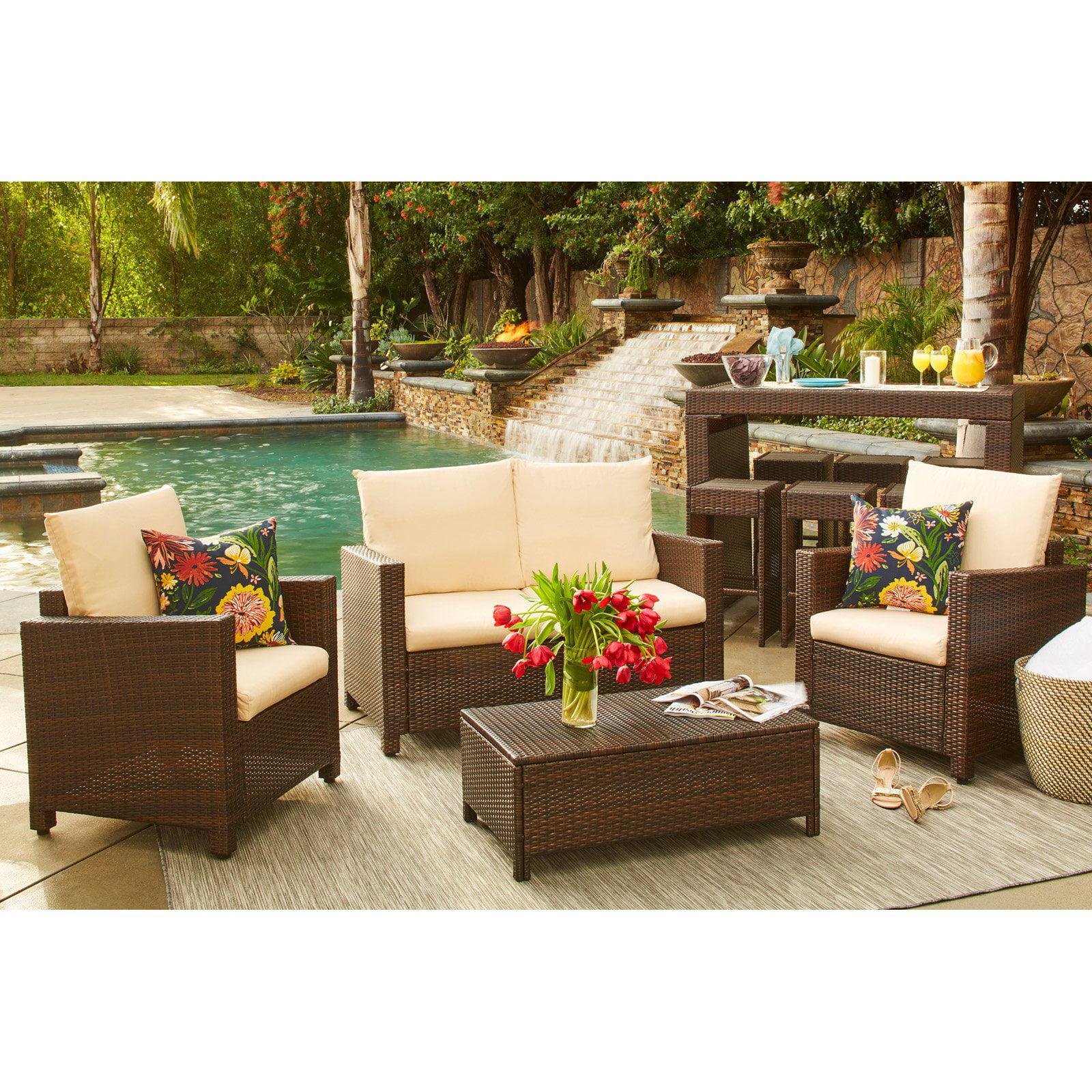 Handy Living Vail 4 Piece Wicker Indoor/Outdoor Conversation Set
