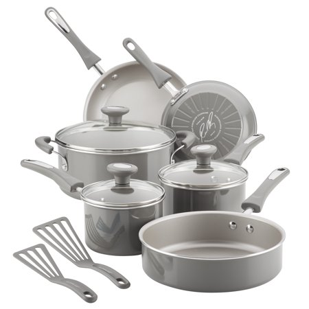 Rachael Ray 11-Piece Get Cooking! Non-Stick Pots and Pans Set/Cookware Set, Gray
