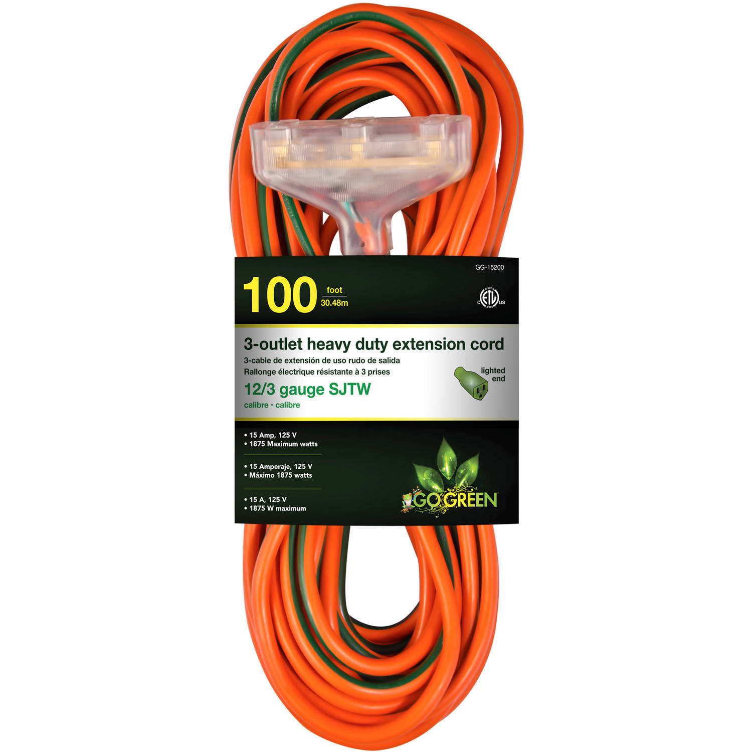 GoGreen Power 12/3 100' 15200 3-Outlet Heavy Duty Extension Cord, Lighted End