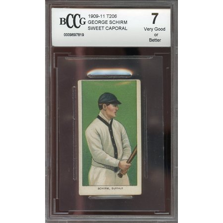 1909 11 T206 Sweet Caporal George Schirm Bisons  Vg Or Better  Bgs Bccg 7