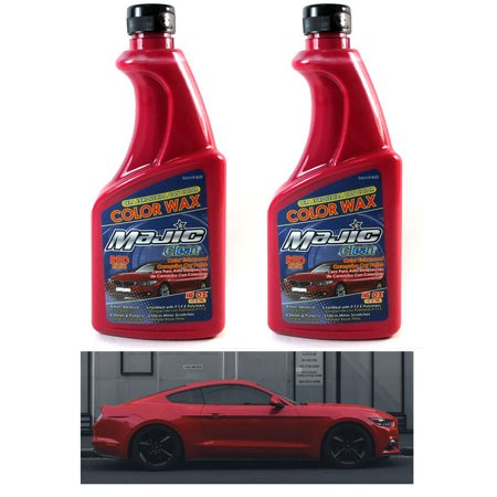 2 Red Color Wax Car Polish Enhanced Shine Non Abrasive Scratch Seal Detail 32 Oz