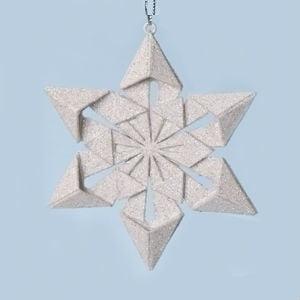 "Roman 4"" Origami Style Star Point Glittered Snowflake Christmas Ornament - White"