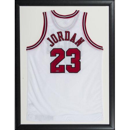 Michael Jordan Signed Framed 34x44 Chicago Bulls White Jersey UDA by