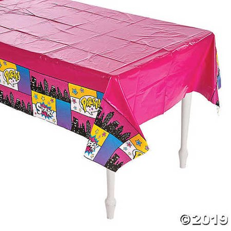 Superhero Girl Plastic Tablecloth