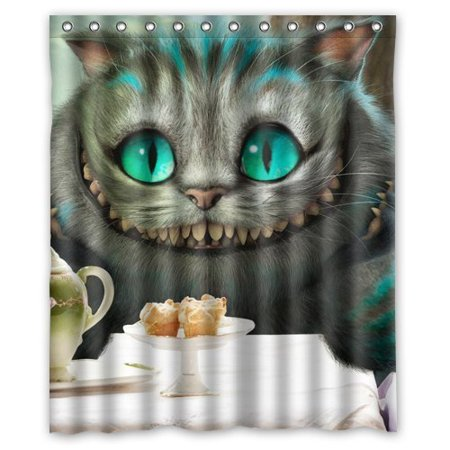 DEYOU Alice In Wonderland Cute Funny Cat Shower Curtain Polyester Fabric Bathroom Size 60x72
