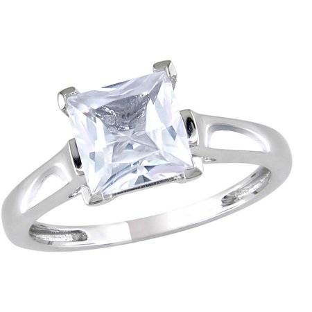 2 Carat T.G.W. Square-Cut Created White Sapphire 10kt White Gold Solitaire Engagement