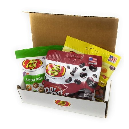 Jelly Belly Soda Flavors Gift Box - Three 3.5 oz Bags Jelly Beans - Dr. Pepper, Soda Pop Shoppe Mix, and Snapple Mix - Great Holiday Gift - Full List of Flavors in Description ()