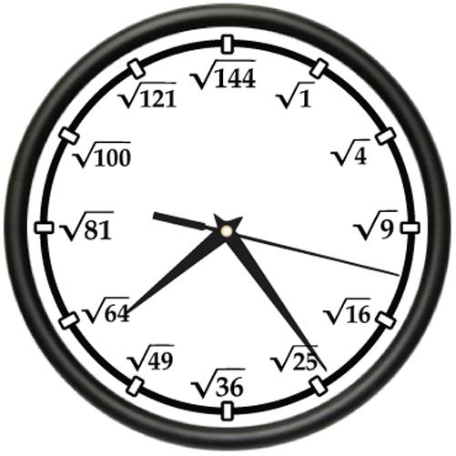 Square Root Wall Clock Math Teacher Calculator New T
