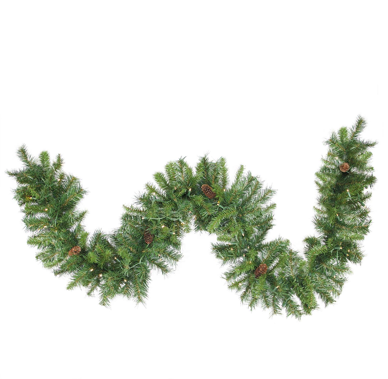 "50' x 12"" Pre-Lit Dakota Red Pine Commercial Artificial Christmas Garland - Warm White LED Lights"