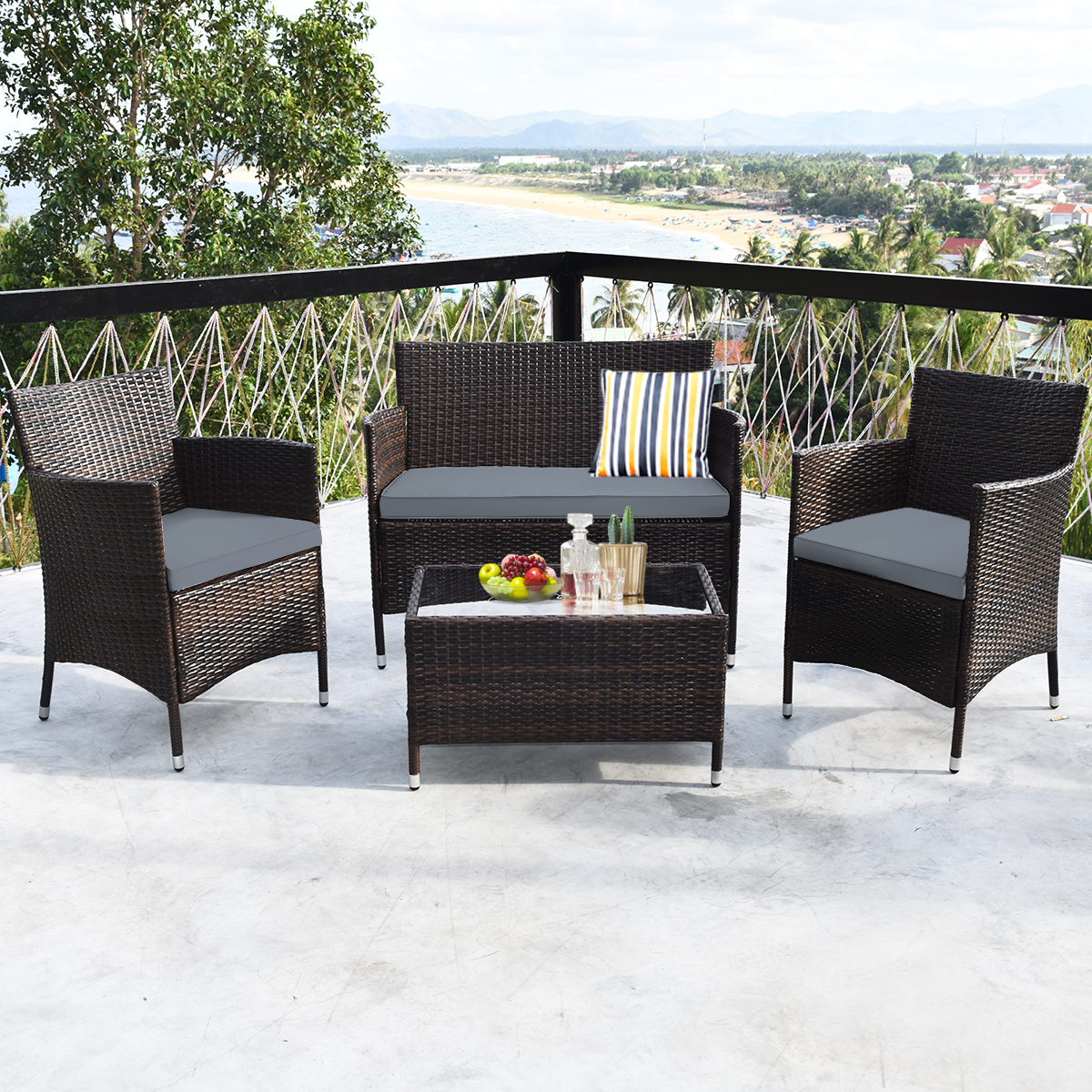 ikayaa Garden Sofa Set Padded Chairs Garden Furniture Patio Table Fashion Chairs Set of Conversation Steel Frame Pack Of 4