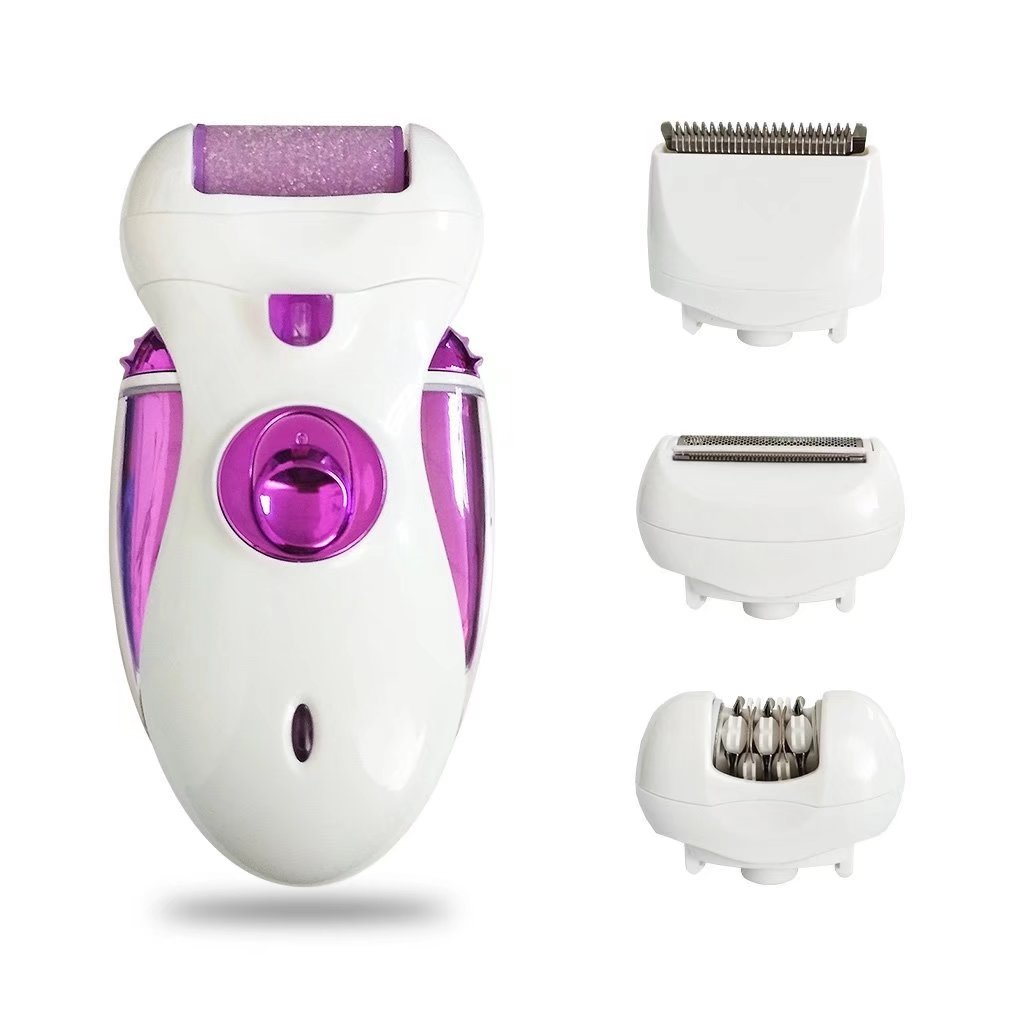 Bikini Line Trimmer 4 in 1 Women Electric Epilator Cordless Rechargeable Bikini Trimmer Waterproof Ladies Hair Shaver Clipper Removal Razor Callus Remover Pedicure Foot Care Tool(Purple)