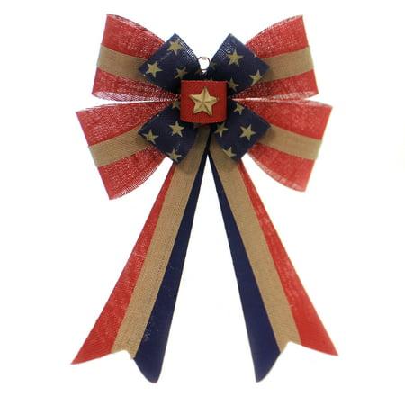 Patriotic PATRIOTIC BURLAP BOW Fabric USA Stars Stripes 9729787