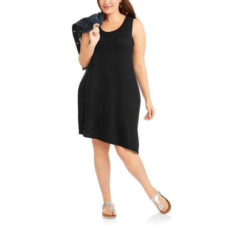 ac7b8713bb814d Mia Kaye - Women s Plus Sleeveless Knit Dress With Side Slit - Walmart.com