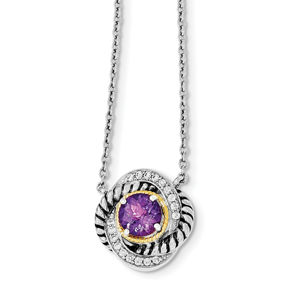Sterling Silver w/ Rhodium with 14k Gold 18.5in CZ and Amethyst Necklace