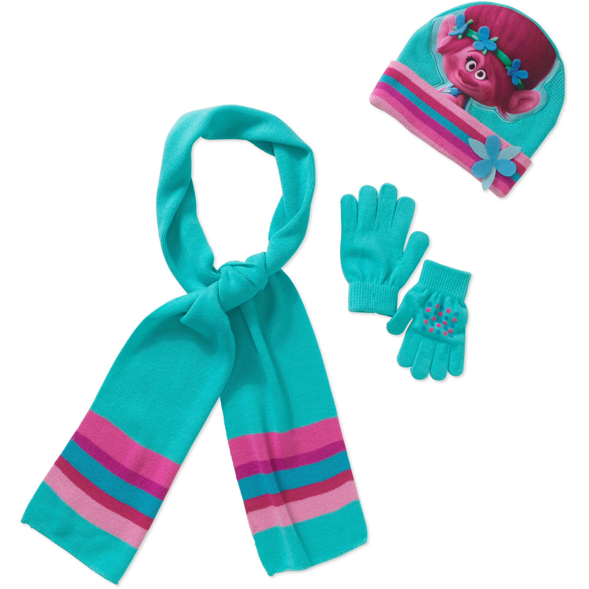 Trolls Girl's Hat, Glove and Scarf 3pc Set