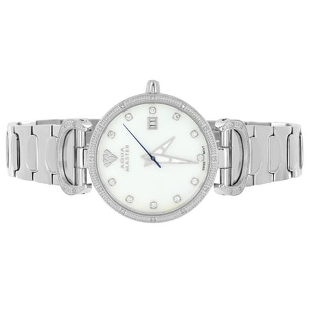 Silver Aqua Master Watch Stainless Steel Mother Of Pearl Dial Watch 0.3CT Real Diamond Brand New Classy