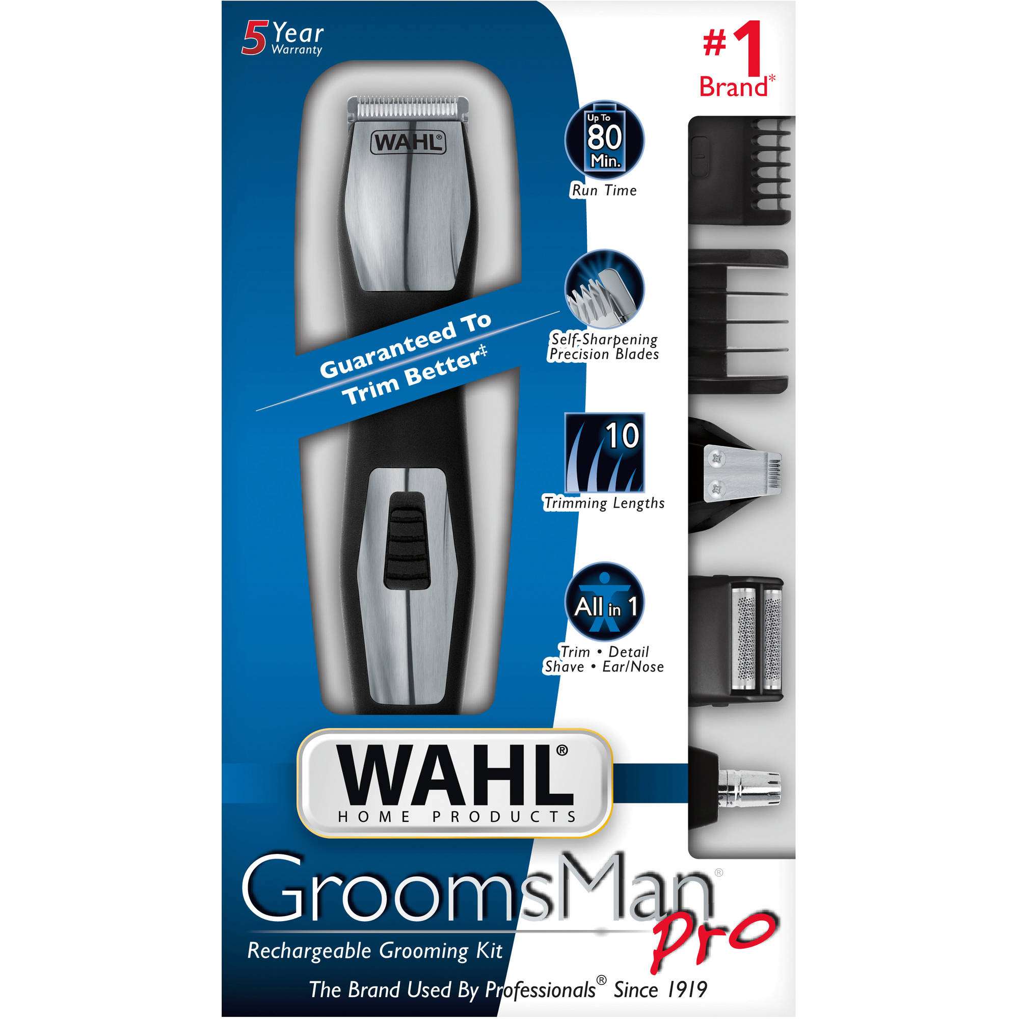 Wahl GroomsmanPro Rechargeable Grooming Kit, 12 pc