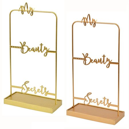 2 Jewelry Stands Metal Table Top Jewelry Organizer My Beauty Secrets FREE Eyeglass Pouch ()